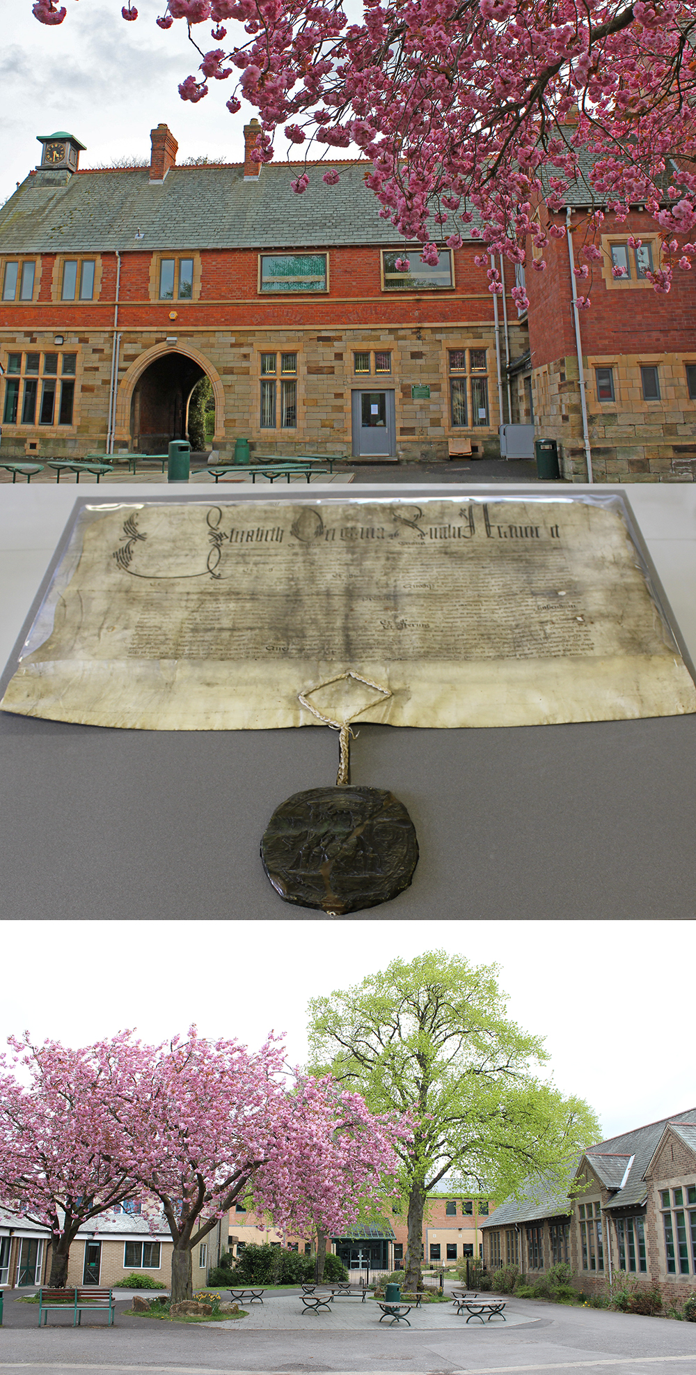 A montage of three photos; a red brich school building, a parchment charter with wax seal, and a view of a courtyard between buildings with trees with pink blossom.