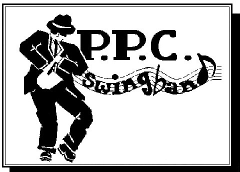 Logo of Prior Pursglove College Swingband, showing a man in a suit and hat playing a saxaphone to the left of the text PPC Swingband.
