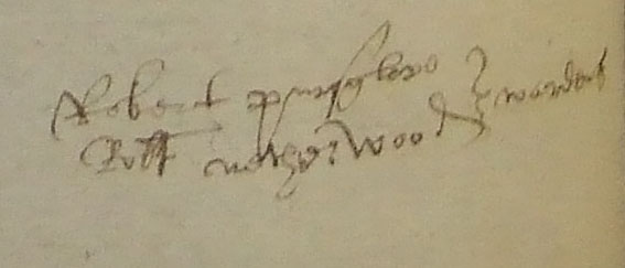 Signatures in black ink of two Wardens of Guisborough Hospital, Robert Pursglove and Robert Netherwood
