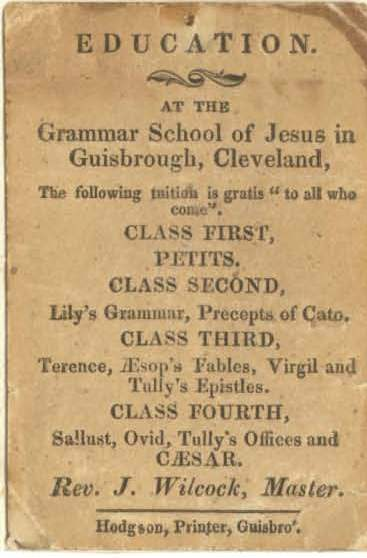 Advert for the grammar school at Guisborough in the early nineteenth century in black text on brown discoloured card.
