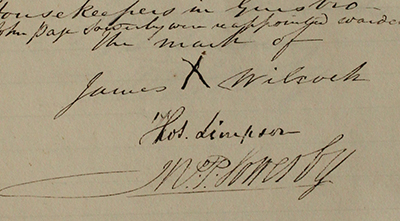 A detail from a page of minutes written in 1841, showing the signatures of Thomas Simpson and W. P. Sowerby, and the mark of James Wilcock, a cross around which someone else has written his name.
